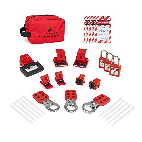 TRADESAFE Breaker Lockout Tagout Electrical Loto Kit. 120/277V to 480/600V Circuit Lock Outs. Set Includes Keyed Different Red Safety Padlocks, Hasps, Tags. Devices for Station Refill - 1 Key