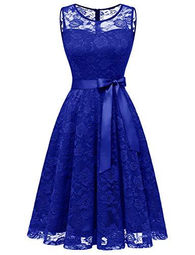 Dressystar DS0009 Abendkleid Ärmellos Kurz Brautjungfern Kleid Spitzen Rundhals Damen Kleider Royalblau XXXL