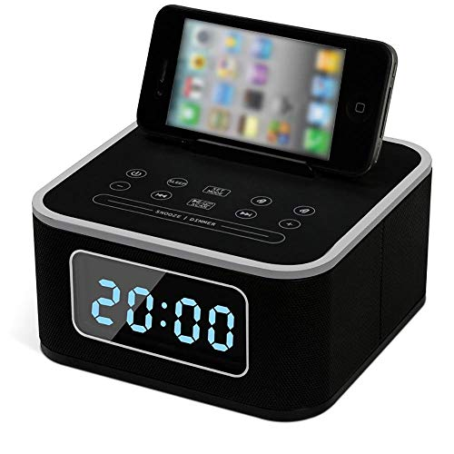 CNMF docking station draadloze Bluetooth luidspreker dubbele wekker FM-radio met afstandsbediening laadstation USB opladen handsfree sluimerfunctie voor thuis Bed Head Office Hotel, zwart