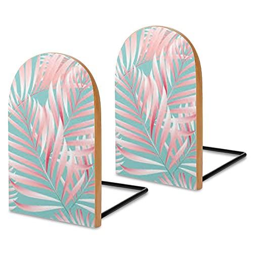 2 fermalibri in legno tropicale palma giungla estremità del libro, decorazioni per libri di cucina, DVD, movimentazioni retrò