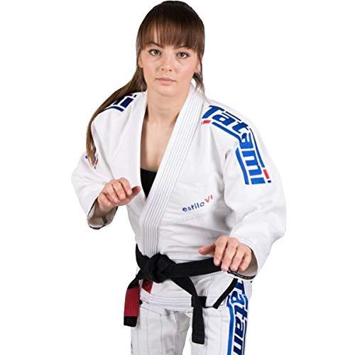 Tatami - Kimono Estilo BJJ para Mujer, Mujer, Color White and Cobalt Blue, tamaño Size F1