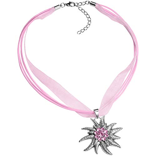dressforfun 900578 Halskette Edelweiß, in der Länge verstellbar, für Oktoberfest & Trachten Party - Diverse Farben - (Rosa | Nr. 302927)
