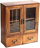 Mueble de montaje en pared Gabinete de almacenamiento - estante de pared alacena colgante - Almacenamiento de despensa - Gabinetes de almacenamiento de vidrio y madera con puertas y estanterías - Mueb