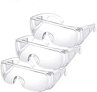 3PCS YH&GS Safety Glasses Over Glasses Goggles Protective Eyewear for Work - Anti Fog Shooting Glasses Eye Protection with Clear Vision,Scratch & UV Resistant Safety Glasses for Men Lab Clear (3pcs)
