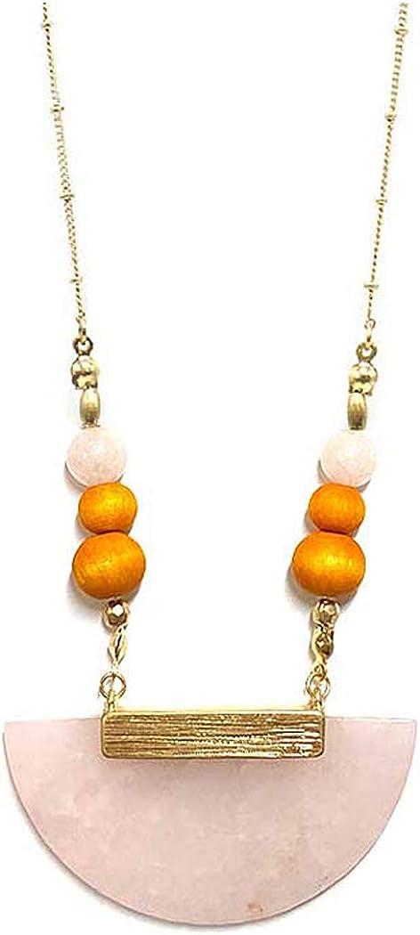 Fashion Jewelry ~ Pink Semi Precious Stone Half Moon Pendant Long Chain Necklace for Women Teens Girlfriends Birthday Gift