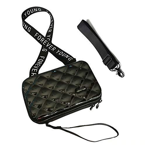 Flywill Handy Umhängetasche Mode Damen Schultertasche Hart ABS+PC Kofferform Kupplung Diamantgitter Handtasche mit Abnehmbar Schultergurt Handschlaufe Klein Tasche für Handy unter 6.5 Zoll, Schwarz