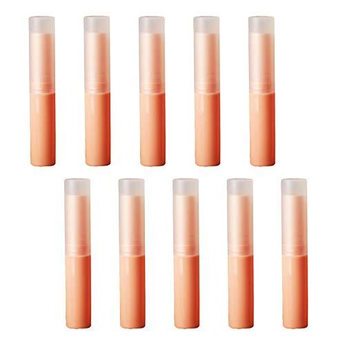 Lippenstift Hülle Behälter, 10 Stück Leer Lippenstift Kunststoff Lippenstifthülsen Leer Lippenbalsam Hülsen DIY Lippen Balm Tubes Container Hausgemachte Lippenbalsams Nachfüllbar mit Kappe 4g (Orange)