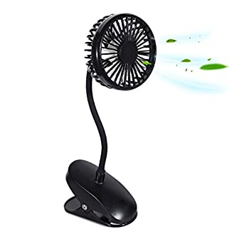 TianNorth Clip Fan Rechargeable Battery Operated Clip on Mini Desk Fan For Baby Strollers,Home Office Dorm outdoor  Black
