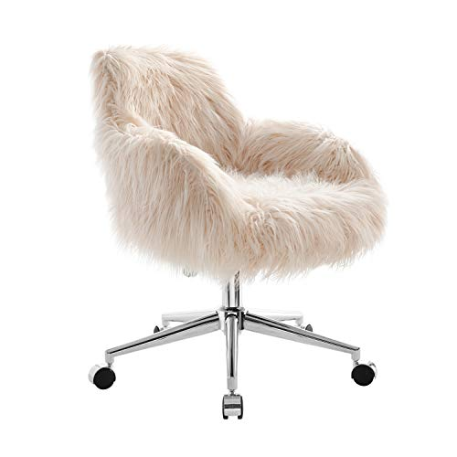 Faux Fur Office chair with Upholstered Seat and Back