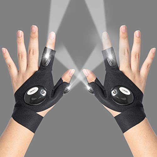 LED Flashlights Gloves, Sportsvoutdoors Christmas Cool Gadgets Gifts for Men Dad Husband Handyman, Outdoor Flashlight Gloves For Working Fishing Camping, Hand Free Repair Tools for Dark Places, 1 Pair