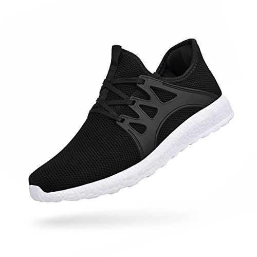 Feetmat Womens Workout Sneakers Ultra Lightweight Breathable Mesh Athletic Walking Running Shoes Black/White 7