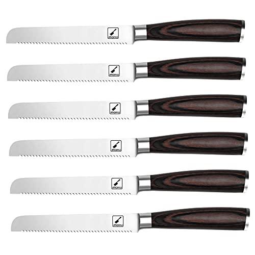 Steak Knives, imarku Steak Knife Set, German Stainless Steel Serrated Steak Knife, Slicing Knife for Dinner Party, Durable Pakkawood Handle