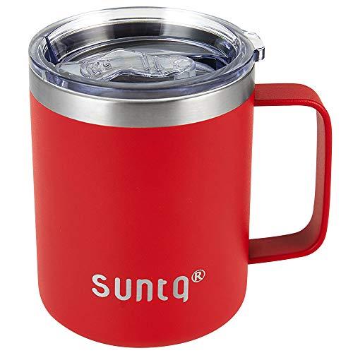 SUNTQ RVS Mok met Deksel en Handvat - Herbruikbare Koffie Cup Reizen Camping Mok - Dubbelwandige Vacuüm Geïsoleerd - Milieuvriendelijke Bekers voor Hete Koud Drank 12oz/360ml Vlam Rood