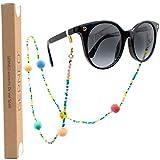 GERNEO® - Malta - Premium Spectacle Strap & Cord Unisex per occhiali da lettura e da sole - 18 Carat Gold - Pom pom in colori brillanti (multicolore)