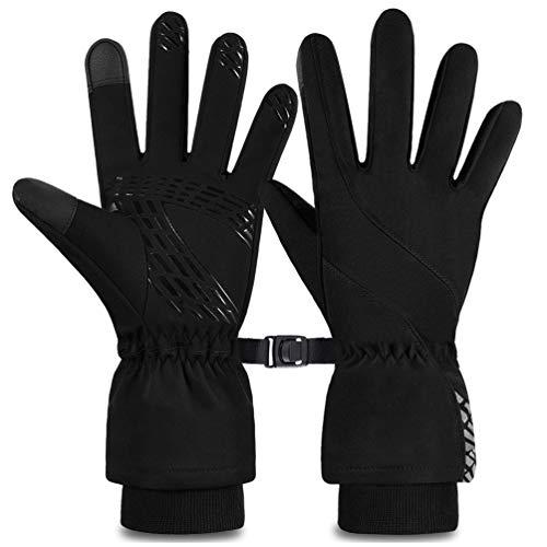 VBIGER Winterhandschuhe Wasserdichte Fahrradhandschuhe Unisex Verdickte Extra Warme Anti-Rutsch Handschuhe mit Reflexstreifen and Touchscreen-Funktion