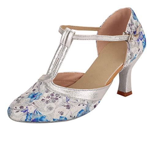 Dasongff Tanzschuhe Blau Rosa Dancing Shoes Drucken Standard & Latein Ballschuhe Soziale Partei Salsa Tango Dance Schuhe Gymnastikschuhe Pumps Sandalen