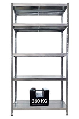 GRIMA Scaffale in Metallo Zincato 5 ripiani - dim 120x50x195cm (260kg per ripiano, totale 1300Kg) Scaffali in metallo, scaffalature metalliche, robusto per garage- EasyClip: Sistema ad incastro rapido