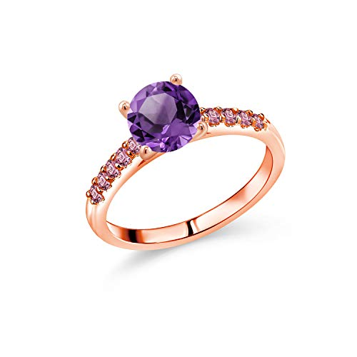 Gem Stone King 10K Rose Gold Purple Amethyst and Pink Lab Grown Diamond Women Engagement Ring (1.58 Ct Round, Available in size 5, 6, 7, 8, 9)