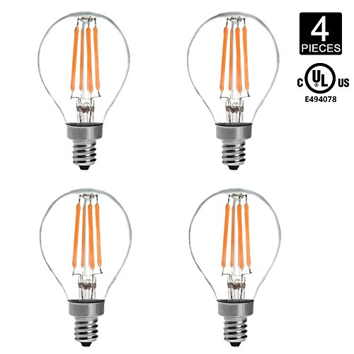 HERO-LED G14-DS-4W-WW27 Dimmable G14 E12 4W Candelabra Style LED Vintage Antique Filament Bulb, 40W Equivalent, Warm White 2700K, UL-Listed, 4-Pack