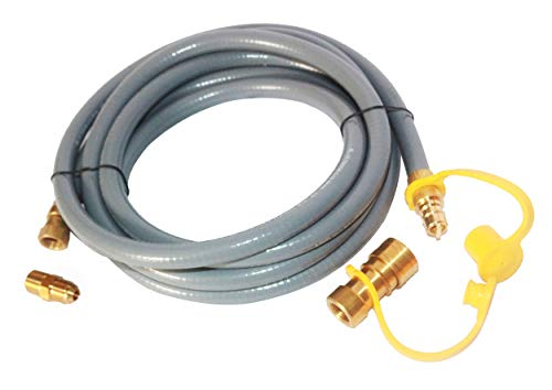 Bbqzone 12 Feet 3/8 ID Natural Propane/Natural Gas Hose with 3/8' Female by 1/2' Male, Quick Disconnect Kit for Grill, Griddle, Fire Pit,Generator, Heater and More NG/Propane Appliance