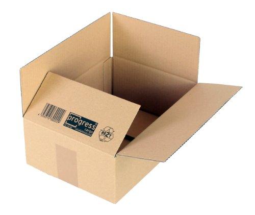 ProgressCargo PC K10.02 - Caja plegable de cartón corrugado (20 unidades, A4+, 304 x 217 x 110 mm, corrugado simple), color marrón