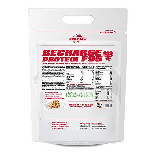 BWG Recharge Protein F95 Shake, Eiweißpulver für Muskelaufbau & Abnehmphase, 100{8b643bd2e048e3027d86732200c43dd0d46ef6454e30c833e6d11dabec0cc796} Kosher, mit Glutamin, Cookies Best (2500g)