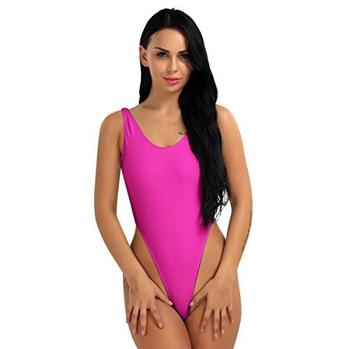 iEFiEL Bodies Maillots Leotardo de Corte Alto para Mujer Monos de Gimnasia Danza Natación Suave Rosa Oscuro Talla Única