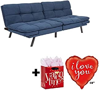 Mainstay Memory Foam Futon, Blue Suede with Valentine's Freebies I Love You Balloon..