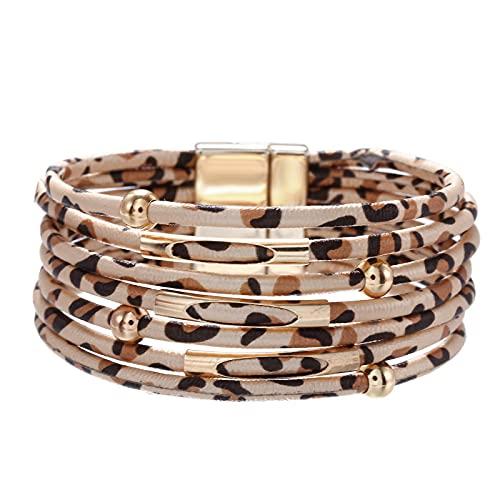 Pulseras de cuero de leopardo para mujerPulseras y brazaletes de moda Pulsera elegante multicapa de envoltura ancha Joyería llamativa