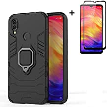 for Xiaomi Redmi Note 7 / Redmi Note 7 Pro Case,Hybrid Heavy Duty Shockproof Armor Dual Layer Protection Defender Back Case Cover for Redmi Note 7 Tempered Glass Screen Protector (Black)