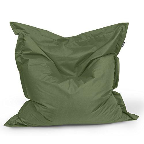 BuBiBag Sitzsack Sitzkissen Bean Bag Rechteck Größe 160 x 145 cm Indoor und Outdoor (Khaki)