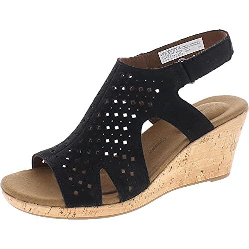 Rockport Women's Briah Hood Sling Heeled Sandals, Black, 8
