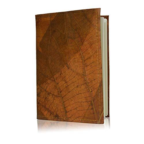 WOLA Notizbuch A5 Reisetagebuch Buch Hülle vegan SELVA Bullet-Journal Notizheft aus Blattleder (orange, A5)