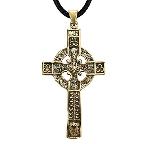 Bronze Celtic Cross Pendant Necklace - 2.5 Inches Tall