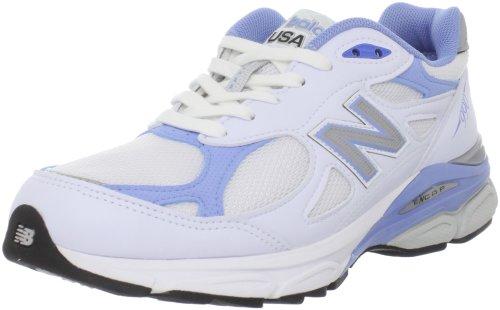 New Balance Women's Made 990 V3 Sneaker, White/Blue, 6 B US