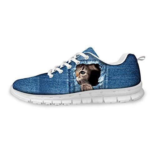 POLERO Laufschuhe Damen Herren Sneaker Atmungsaktiv Turnschuhe Schnürer Sportschuhe mit Zerrissener Denim Katze Muster 36 EU
