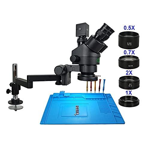 BEVANNJJ 13MP 3.5-90X Girar el Soporte de Brazo Universal Trinocular Estéreo Continuo Zoom Microscopio HDMI VGA Cámara Teléfono Soldador de Soldadura para observación Natural/inspección de...