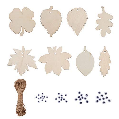 Beadthoven 40 piezas de 8 estilos de hoja sin terminar rebanadas de madera natural en blanco de madera de arce, hojas de árbol con ojos y cuerdas de cáñamo para hacer joyas