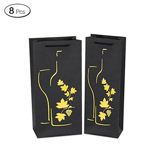 Jia Hu 8pcs Vines Patrón Botella de vino bolsas de regalo bolsa de regalo paquete fiesta viaje presenta, color amarillo Single Bottle-12*8*36cm/4.7*3.1*13.8Inch