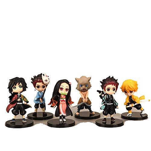 6pcs 7cm Q Demon Slayer Figures Tanjirou Kamado Nezuko Agatsuma Zenitsu Hashibira Inosuke Tomioka Giyuu Anime Model Toys Black