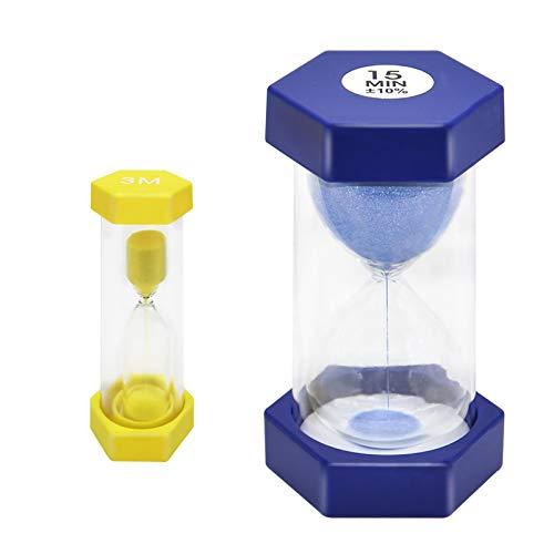 EQLEF Sablier, 3 Minutes de Minuterie de Sable et 15 Minutes de Minuterie de Sable Jaune Bleu Sablier Enfants Sablier Horloge Minuterie pour Cuisine de Classe (2 pièces)