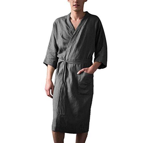 Leinen Pyjama für Herren/Skxinn Männer Nachtwäsche Bademantel Lange Große Größen Kimono Robe Solide Lose Sommer Retro Startseite Kleidung,Herrenkleidung M-4XL Reduziert(Grau,Medium)