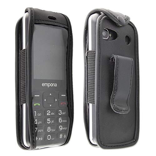 caseroxx Hülle Ledertasche mit Gürtelclip für Emporia TalkSmart aus Echtleder, Tasche mit Gürtelclip & Sichtfenster in schwarz