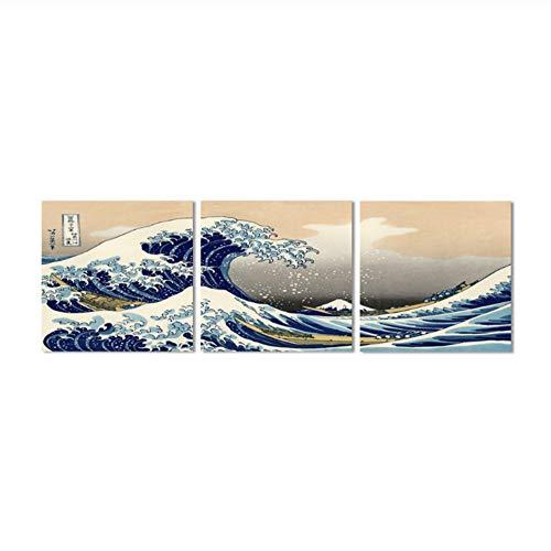 Ola Kanagawa Vistas del monte Fuji Pintura Lienzo HD Imprimir Cartel Decoración de la pared del hogar Fotos Katsushika Hokusai Gran-50x50cmx3 Sin marco