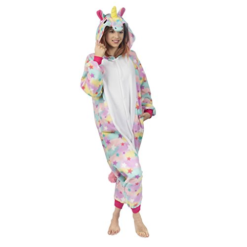 Emolly Fashion Adult Unicorn Animal Onesie Costume Pajamas for Adults and Teens (Medium, Rainbow)
