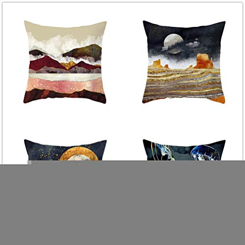 Set of 4 Pcs Throw Pillow Case Cushion Covers Landscape Painting Velvet Soft Superfine Fiber Square Decorative Throw Pillowcases for Living Room Sofa Car with Concealed Zip E3542 60x60cm/23.4x23.4in