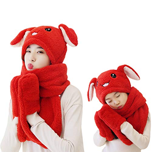 Sombrero Bufanda Guantes 3 en 1, Polar Cálido de Invierno Sombreros Preciosos con Orejas de Conejo en Movimiento para Padres e Hijos Juego de 2 Piezas,Red