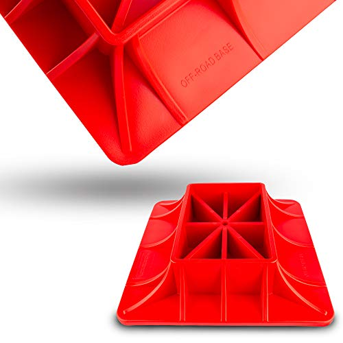 ZESUPER Off-Road Base High Lift Jack Base Plate Compatible with Hi Lift Jack PP Pad to Alleviate Jack Hoisting Sinkage (Red)