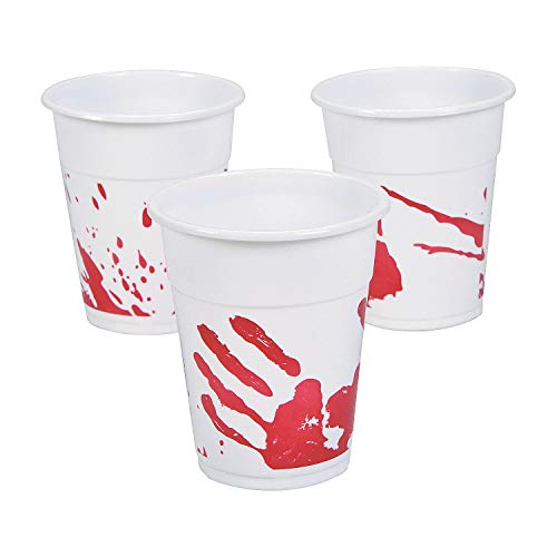 Fun Express Bloody Hand Print Disposable Cups (Bulk Set of 50) Scary Halloween Party Supplies