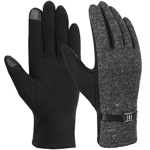 VBIGER Womens Gloves Touch Screen Winter Gloves (L, Black)